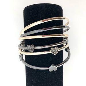 INC Women's 6 PC Heart Rose Gold Bangle Bracelet